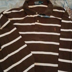 Brown/white striped long sleeved 2xl polo